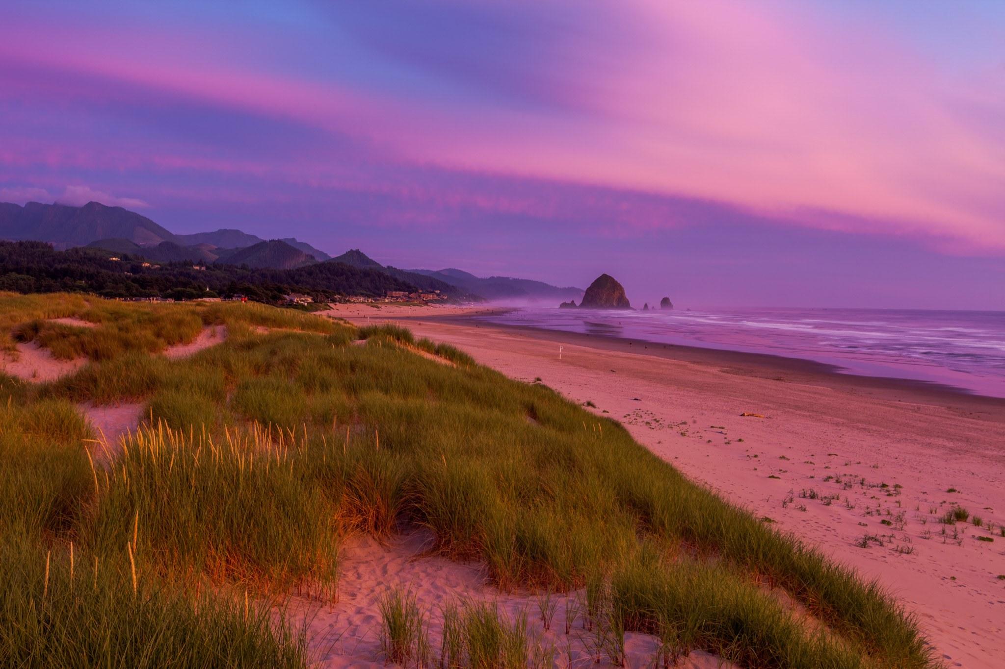 Purple sunset in Cannon Beach, Oregon