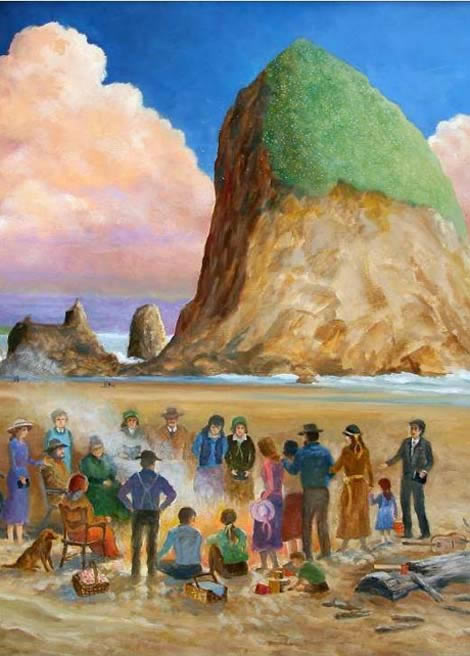 """""""Come to the Fire"""" by Richard Gorsuch (2005) Historic painting of the beginning of Community Church in 1927"""